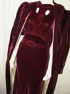 1930s wine colored silk velvet dress with matching opera coat.