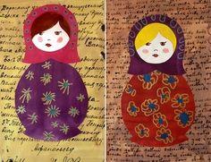 Matriochkas ou russian dolls très réussies. Le fond : texte trouvé sur g**gle images. Les enfants décorent les matriochkas, ils peignent la robe, le foulard, les cheveux. Puis ils décorent la robe et le foulard avec des ronds et des ponts