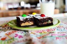 Crazy Brownies by @Ree Drummond | The Pioneer Woman - cake mix magic brownies with rolo's, peanut butter cup, and m&m candies in the middle!!!! #picnic