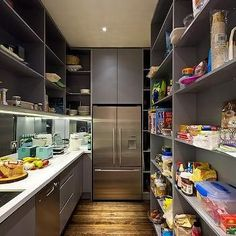 With an extra freezer too. Gray Pantry with Full Size Refrigerator