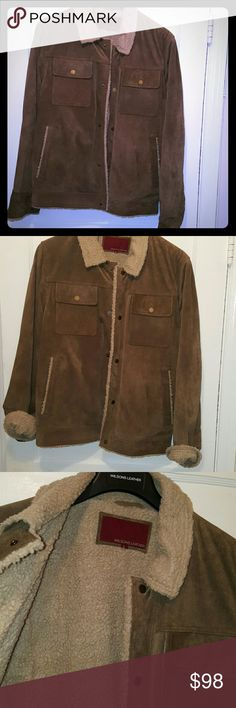 Suede Jacket Sherpa linning, original plastic bag Olive color cream inside snapped down the front , two snap top pockets,  none smoking home and no pets , purchased for my 16yr old but he wouldn't wear, nwot Wilsons Leather Jackets & Coats