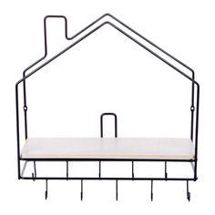 Étagère murale en forme de maison avec crochets - Hauteur 39 cm - Noir