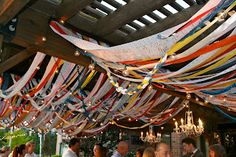 strips of fabric/ribbons for yard and hall