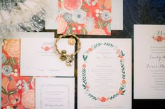 floral wedding invitations - photo by Tim Willoughby http://ruffledblog.com/romantic-southern-wedding