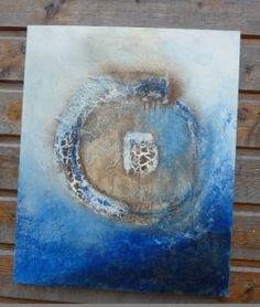 tableau craquele, powertex ivoire et bleu