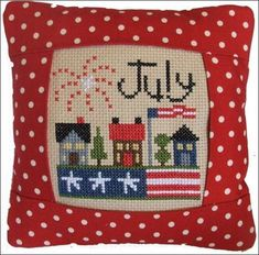 July 2011 Small Pillow Kit - Cross Stitch Kit I WANT TO SEE THE REST OF THE MONTHS!