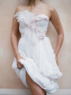 White, pale, pink, feathers, gathers, ruffles, pretty, romantic, dress, fashion