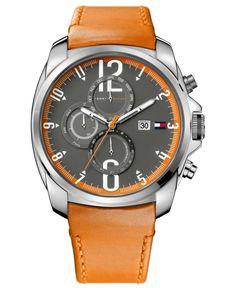 Tommy Hilfiger Watch, Men's Orange Leather Strap 45mm 1790832 - Men's Watches - Jewelry & Watches - Macy's