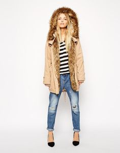 ASOS | ASOS Parka In Cocoon Fit With Knitted Cuff at ASOS