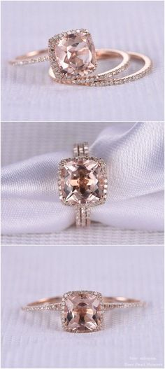 14k Rose gold cushion cut engagement ring / http://www.deerpearlflowers.com/rose-gold-engagement-rings-from-milegem/2/