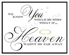 SALE*** Custom Printable Wedding In MEMORY of Loved One, We know you would be here today, if HEAVEN wasn't so far away Sign Digital File