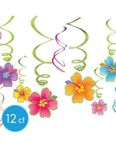 Luau Hanging Swirl Decorations 12ct - Party City