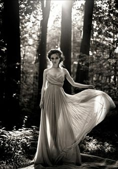 black and white, fashion, forest, long dress More