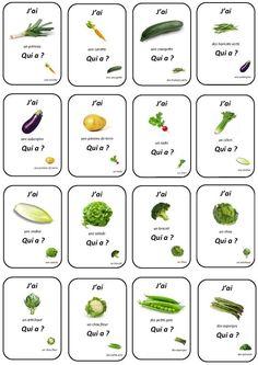 """Le jeu """"j'ai... qui a?"""" Een leuk spel om verschillende soorten woordenschat te herhalen. Hier werd de woordenschat rond groenten gebruikt."""