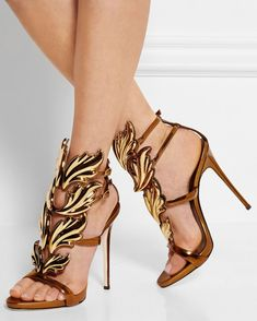 GIUSEPPE ZANOTTI Coline Metallic Leather Sandals | Buy ➜ http://shoespost.com/giuseppe-zanotti-coline-metallic-leather-sandals/
