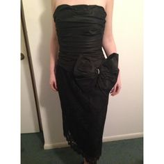 """🎉 HP Bill Blass Vintage Black Satin and Lace Gown Host Pick 4/11/16 """"Best in Dresses and Skirts Party"""" 🎉. Excellent Used Condition. Gorgeous vintage strapless Bill Blass gown with gathered satin molded bodice and black lace skirt, satin bow. Very classic look. No visible size tag, but I am now a 4 and this is a little big on me. Would be best for a 6-8. No defects or imperfections. Vintage Dresses Strapless"""