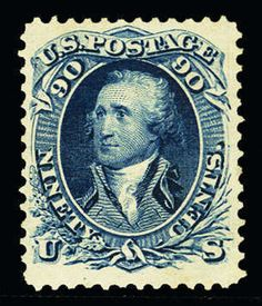 United States 1875 Reprint of the 1857-61 Issue 90c blue, well centered, beautiful color, slight redistributed original gum (appears to be a heavy h.r.), v.f. example of this rare sta...