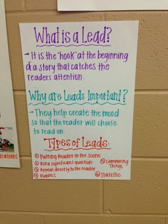 Leads in Introductions for our nonfiction feature articles! 4th grade