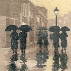 Brollies (PSBL1279)   New sepia style silhouette Cross stitch kit design by Heritage Crafts.   Contents: 14 count aida or 27 count evenweave fabric, chart, needle, DMC cotton threads and full instructions.   Size: 12.5cm x 12.5cm.     DELIVERY DETAILS: - Please allow upto 7 working days for dispatch.   See our full range of Sepia style designs