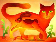 tomcat - Schilderij,  40x4 cm ©2010 door Tetiana Gorbachenko -                            Hedendaagse schilderkunst, kunst