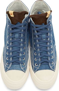 Visvim for Men Collection. Visvim Blue Denim Skagway High-Top Sneakers