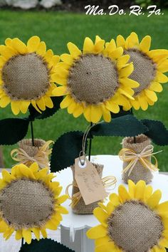burlap and fabric sunflower name card holders and wedding favors