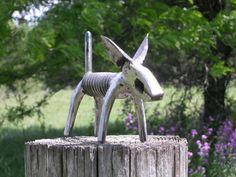 Plier Dog Metal Sculpture Jack Russell Terrier Metal Dog Sculpture Garden Art Yard Art Found Objects
