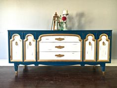 Shabby Chic Teal, White & Gold 9 Drawer Dresser / Sideboard - $450 - SOLD