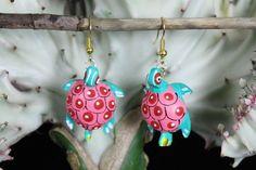 Pink & Turquoise Dots Turtle Alebrije earrings Hand Made Oaxaca Mexican Folk Art #HandMade