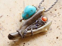 Fossil Coral x Turquoise x Sunstone Pendant