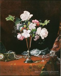 Mixed Flowers with a Box and Pearls (1869) - Martin Johnson Heade Heade, Martin Johnson (Martin J. Heade)(American 1819-1904) Hudson River School.