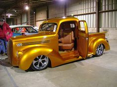 Gold hot rod truck with cool wheels