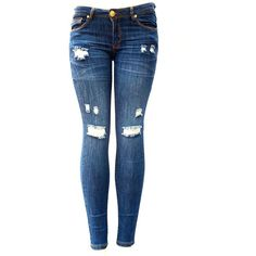 C'EST TOI BLUE Denim Stretch JEANS Destroy Skinny LEG Ripped... ($24) ❤ liked on Polyvore featuring jeans, pants, ripped skinny jeans, distressed jeans, destroyed skinny jeans, ripped jeans and torn skinny jeans