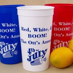 Reusable jumbo size 32 ounce plastic stadium cups personalized with choice of design and up to 4 lines of print. See what your wedding cups will look like Wedding Cups, July Wedding, Wedding Reception, Hot Coffee, Coffee Cups, Monsieur Madame, Personalized Cups, Independence Day, Dinner Ideas