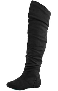 4e057a13a50712 Women s Slouchy Over the Knee Comfortable Casual Trendy Round Toe Mid Calf  Slouch Thigh High Flat Heel Boots Fashion Stylish Sexy Shoes