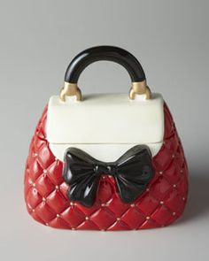 H6BAJ Red and White Bow Purse Cookie Jar
