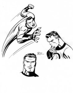 The stretching scientist, Reed Richards (aka Mr. Fantastic), by Bruce Timm.