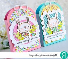 Easter treat boxes by Kay Miller. Reverse Confetti stamp set: Hippity Hoppity. Confetti Cuts: Hippity Hoppity, Tagged Tote, Class Act, Circles 'n Scallops, Love Note, and Leafy. Easter table favors. DIY party favors. Easter bunny.
