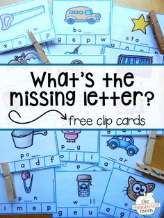 Looking for a middle sounds activity? Build phonics skills with this fun set of task cards! Kids clip the missing letter on each card. Such a great learning tool for students in kindergarten and first grade! Kindergarten Centers, Kindergarten Reading, Teaching Reading, Literacy Centers, Letters Kindergarten, Reading Centers, Early Literacy, Kindergarten Worksheets, Kindergarten Classroom