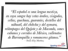 """""""El español es una lengua mestiza, en cuya sangre hay vetas árabes, visigodas, celtas, quechuas, guaraníes, destellos del náhuatl, del chibcha y del aymara, relámpagos del Quijote y de Macondo, sones cubanos y corridos de México, vallenatos de Barranquilla y romanceros gitanos."""" - Tomás Eloy Martínez. #SpanishQuotes #Citas #SpanishTeachers #Inspiration"""