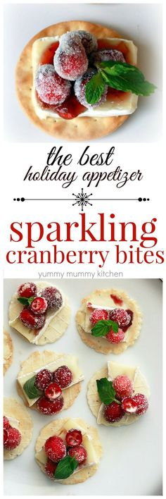 Sugared cranberries with brie or Kite Hill cheese and crackers is the most beautiful and delicious holiday appetizer! I love making this appetizer for Thanksgiving, Christmas, and New Year's eve parties.