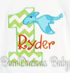Pterodactyl Birthday Shirt Dinosuar Birthday by bowdaciousbaby