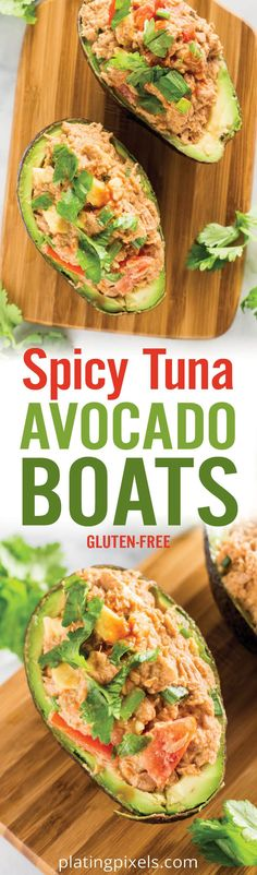 Quick and healthy Spicy Tuna Avocado Boats. Avocado halves filled with BOLD Tapatío tuna, organic mayo, green onions and tomatoes. Topped with cilantro for a healthy gluten free seafood recipe full of lean protein. - platingpixels.com