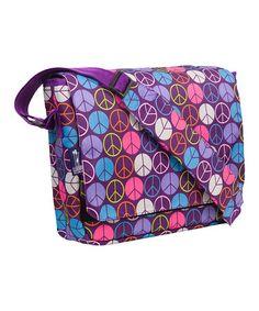 Look what I found on #zulily! Purple Peace Sign Kick-Start Messenger Bag #zulilyfinds