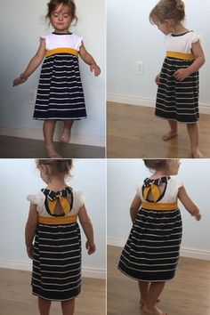 great sewing tutorial! super easy dress upcycled from two t-shirts plus tutorial for adding contrast neckband and tie-back - so cute! from www.itsalwaysautu...