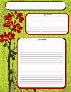 full page recipe template free | full page green recipe with 2550 x 3300 3059 kb