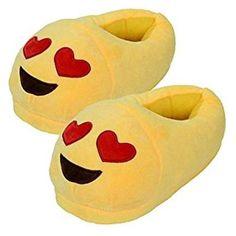 cf5a937f357 JuJu Smiling Emoji Red Heart Slippers Plush Cotton Indoor Shoe For Kids    Women Non-