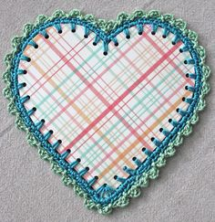 How to crochet around a paper heart @ bigalittlea