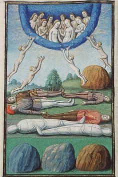 Maître François (actif à Paris entre c.1460 et c.1480), L'ascension des âmes, c.1475-80. Miniature sur parchemin, dans La Cité de Dieu de Saint Augustin, Ms MMW 10 A 11, fol. 410r, La Haye, Musée Meermanno.