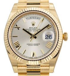 Rolex Mens 40mm Day-Date 228238 18K Yellow Gold Silver with Roman Numeral Dial #rolex #menswatches #watchesformen Rolex Day Date, Luxury Watches For Men, Roman Numerals, Gold Watch, Buy Now, Presidents, Dating, Yellow, Silver